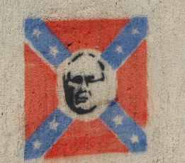 likeness of John Howard in a Confederate flag